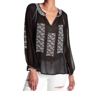 Joie Pllava Embroidered Silk Blouse. Medium. Black